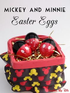 "Mickey and Minnie Easter Eggs (would be cute with pom pom ""ears"" too) // Inspired By Dis"