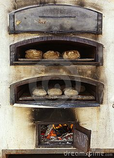 Photo about Bread and dough in traditional wood oven. Image of wood, food, culture - 21030978 Wood Oven, Wood Fired Oven, Bread Oven, Bread Baking, Bakery Shop Interior, Pizza Oven Fireplace, Mobile Pizza Oven, Bakers Oven, Oven Diy