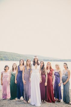 Andrea and her jewel toned maids (bride's dress is from Lovely NY).