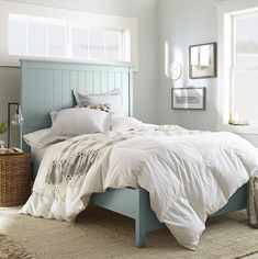 Dreaming of a restful snooze in this cozy corner ☁️ Narrow Bedroom, Master Bedroom, Grey Upholstered Bed, Bedroom Paint Colors, Paint Colours, Behr Paint, Light Grey Walls, Bedroom Green, Cozy Corner