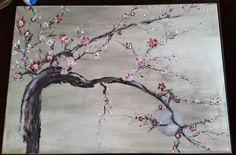 Cerisier japonais peinture à l huile sur toile 100%coton