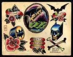 Batman Tattoo Flash Print by ImFromIndiana on Etsy, $20.00