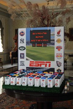 ESPN Themed Seating Card Display with Sports Ticket Place Cards