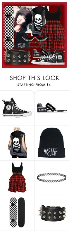 """""""Skater Girl #2"""" by fallenwithbrokenwings ❤ liked on Polyvore featuring Converse, Iron Fist and Forever 21"""