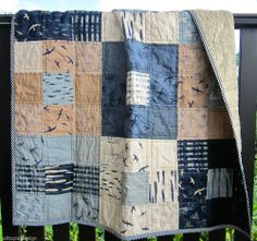 Handmade Modern Patchwork Baby/Lap Quilt Moda Fabric Squares Hearty Good Wishes