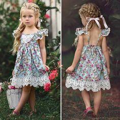 Vestido de Verano niño que empieza a caminar Niños Bebé Niña Sin mangas Floral de Fiesta Desfile Ropa