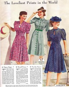 1940 Sears Catalog day dress 40s floral dots blue navy white green button front short sleeves pink red puff color illustration hats swing war era vintage fashion style