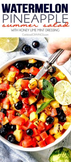 (Grilled optional) Watermelon Pineapple Summer Salad with Honey Lime Mint Dressing - This is possibly the best fruit salad I have ever had the pleasure of making and its so easy! I'm asked all the time to bring it get-togethers and what I especially love is you can use any fruit you want. One of my go to summer recipes! #4thofjuly Pinapple Salad, Chicken Salad With Pineapple, Watermelon Fruit Salad, Best Fruit Salad, Summer Salads With Fruit, Fruit Salad Recipes, Chicken Salad Recipes, Fruit Salads, Summertime Salads