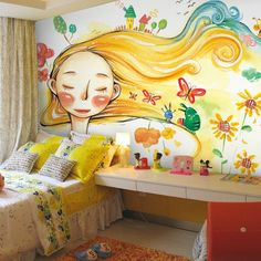 Girls'room with wall painting