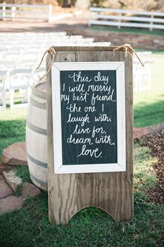 Rustic chalkboard quote | Wedding & Party Ideas | 100 Layer Cake