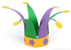 jester hat paper craft pattern mardi gras children's