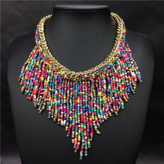 Cheap fashion statement necklace, Buy Quality statement necklace directly from China fashion necklace Suppliers: 2016 Fashion Jewelry Mujer New Bohemian Necklaces Women Handmade Handwoven Collier Long Tassel Beads Choker Statement Necklaces Beaded Statement Necklace, Bohemian Necklace, Beaded Jewelry, Jewelry Necklaces, Handmade Jewelry, Pearl Jewelry, Tassel Necklace, Silver Jewelry, Pearl Necklaces