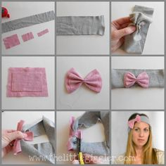bow headband tutorial :) -I Can use this bow style idea for making my bow belt for the baby pictures:D