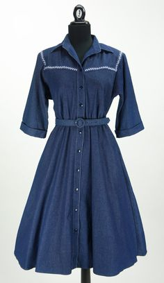 Vintage 1980s does 1950s Western Jean Dress by by CeeLostInTime