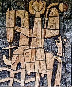 Ceramic relief created in 1965 depicting missionary Willibrord. Petrus Canisius College, the Netherlands. Ceramic Wall Art, Tile Art, Stone Sculpture, Sculpture Art, Cardboard Sculpture, Craft Markets, Mid Century Art, Wall Sculptures, Public Art