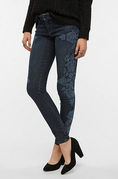 Baroque Embroidered skinny jeans