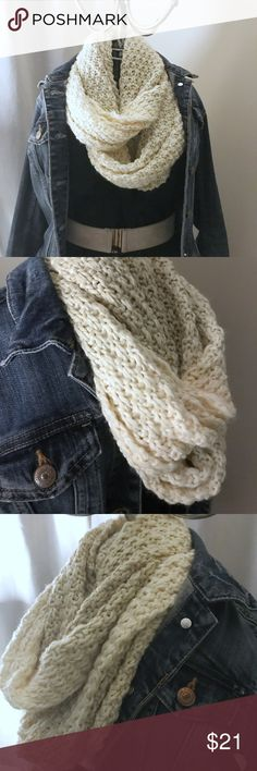 Accessory St New York Knit Infinity Scarf Get ready for that fall weather with this soft cream and beige infinity scarf. This thick knit scarf is sure to warm you up while it's neutral colors will compliment your many styling options! Accessories Scarves & Wraps