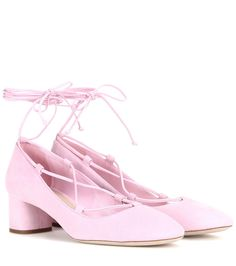 Miu Miu - Suede pumps - Miu Miu's criss-cross style is a safe choice for a feminine vibe. This lace-up design is crafted from butter-soft pink suede for a supremely girly finish. We're making the most of the light hue's elongating effect, and are pairing ours with short hemlines for a flirty finish. seen @ www.mytheresa.com