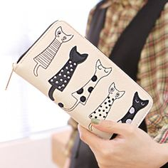 10.71$  Watch now - http://di47t.justgood.pw/go.php?t=180718604 - Cute Cat Pattern and Zip Design Women's Wallet 10.71$