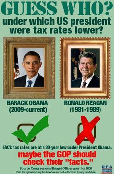 GUESS WHO? / under which US president were tax rates lower? Barack Obama.