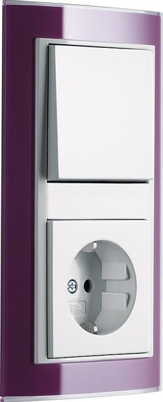 Gira Event Clear,  aubergine / pure white glossy 2-gang combination push switch / socket outlet