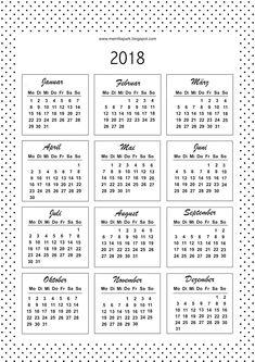 2018 Kalender - Kalenderkarten - schwarz-weiss, deutsche und engl. Version - free download - kostenlos