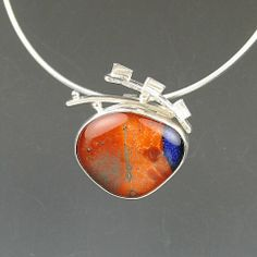 Montana made glass cabochon framed out in sterling. It was so vibrant! FDJ (Fischer Design Jewelry)