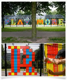 [express] 'Play More' was commissioned by Netherlands' local arts organisation. In this piece Garforth aimed to break up the heavy architectural landscape with bursts of typographic colour