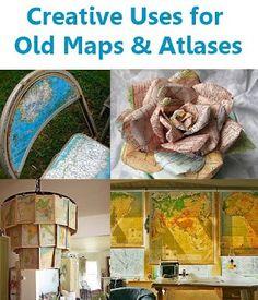 atlas, kaart en wereldbol / creative uses for old maps and atlases