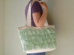 ruffled zipper-top bag