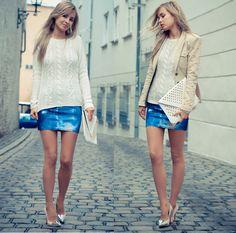 Hallhuber White Sweater, Style By Tyra Studded Clutch, Diy Studded Jacket, Oasap Galaxy Skirt, Zara Toe Cap Heels, Bb Cross Bracelet