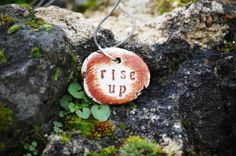 Rustic Necklace with Engraved OOAK Pendant  by FeelingWild on Etsy, £62.79