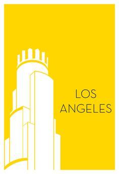 Pósters minimalistas de ciudades de EEUU / Los Angeles