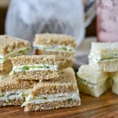 This tangy, creamy sandwich filling makes for great party appetizers with goat & cream cheese, thyme, parsley, garlic and cucumbers.