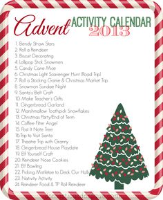 Advent Activity Calendar 2013 - Domestic Goddesque