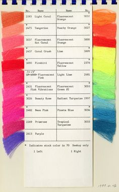 Threads | fluorescents | polyester | U.S.A. | c. late 20th century