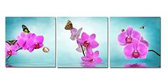 Eden Art 3 Pieces Purple Phalaenopsis Flowers Pictures Prints on Canvas Wall Artwork Modern Giclee Zen Walls Art Work for Home Office Decoration Decor Stretched and Framed 16 by 16 Inches *** Check out this great product by click affiliate link Amazon.com