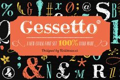 Ad: Gessetto is an extensive chalk font family, containing script, sans, roman, figures and ornaments. One of the things most charming about chalkboard lettering is the variation; in both texture and style to achieve a real chalk effect. by Rsz Type Foundry