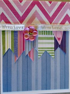 "I kind of saw this card in a magazine - fun, but lots of work. I used a lot of scraps; mostly stripes, and cut tiny ""banners"" - it took just the right ribbon to make it work..."