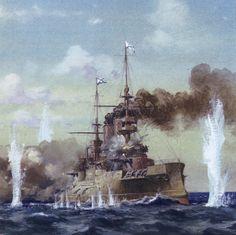 Detalle de un clase Borodino recibiendo un impacto en Tsushima. Más en www.elgrancapitan.org/foro