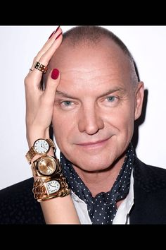 Sting whose musical, The Last Ship, comes to Broadway this month, keeps time with the season's best pieces> Roberto Coin ring; Patek Philippe watch, Rolex watch