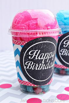 DIY Teal Chevron Cup Wrappers idea - JW Illustrations - perfect party favors - wrap around clear plastic cups with no-hold dome lids full of party gifts! Birthday Gift Wrapping, Birthday Diy, Birthday Ideas, Relief Society Gifts, Happy Birthday Printable, Printable Party, Boyfriend Birthday, Jar Gifts, Gifts For Teens