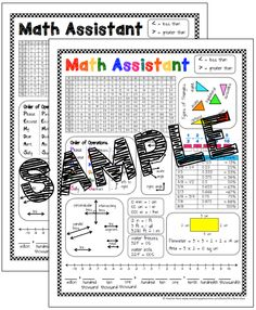 *FREEBIE* Grades 3-5 Math Assistant Helper Chart for student reference.  This is perfect to put in student math binder for a quick reference.  It includes a multiplication chart, types of triangles, types of lines, angles, conversions, place value chart, area and perimeter, common fraction decimal and percents, and a number line!