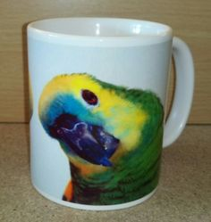Blue-fronted Amazon Parrot 11oz Coffee Mug (PG-01254) Amazon Parrot, Coffee Mugs, Tableware, Gifts, Blue, Dinnerware, Presents, Coffee Cups, Tablewares