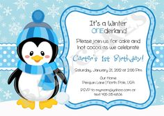 Penguin Winter Onederland 1st Birthday Invitation by jcbabycakes, $12.00