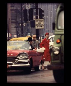 Anne St. Marie + Cruiser in Traffic, NY (Vogue) | From a unique collection of color photography at https://www.1stdibs.com/art/photography/color-photography/