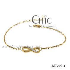 by design steel infinity bracelet with crystal-SET297-1