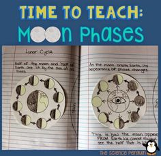 7 Ideas to Teach Students about Moon Phases {Students make a notebook entry that shows that the moon is halfway lit as it revolves around Earth and shows what the phases look like from Earth.}