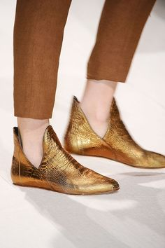 These are F*cking amazing gold slipper-esque shoes (DAMIR DOMA Womens Autumn Winter 2012-13)