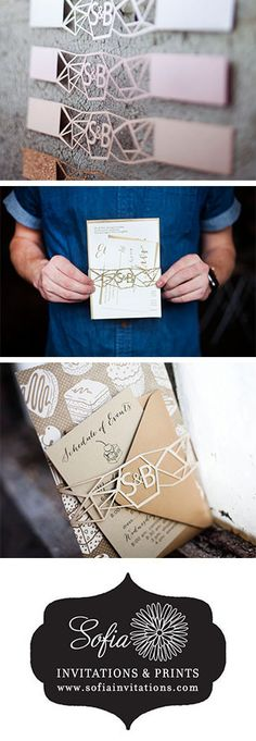Beautiful belly bands! Custom made invitation wraps/belly bands with monogramed laser cut in any color you want.